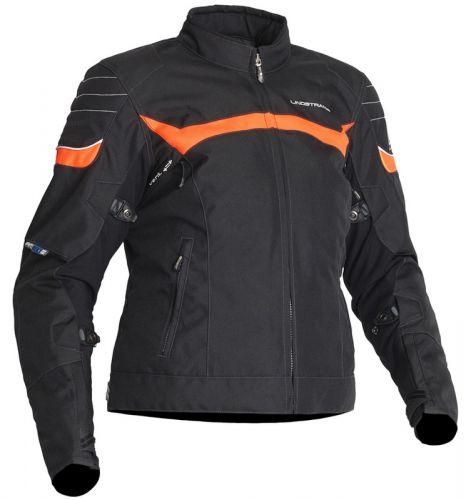 Lindstrands Che naisten moottoripyöräajotakki musta-oranssi
